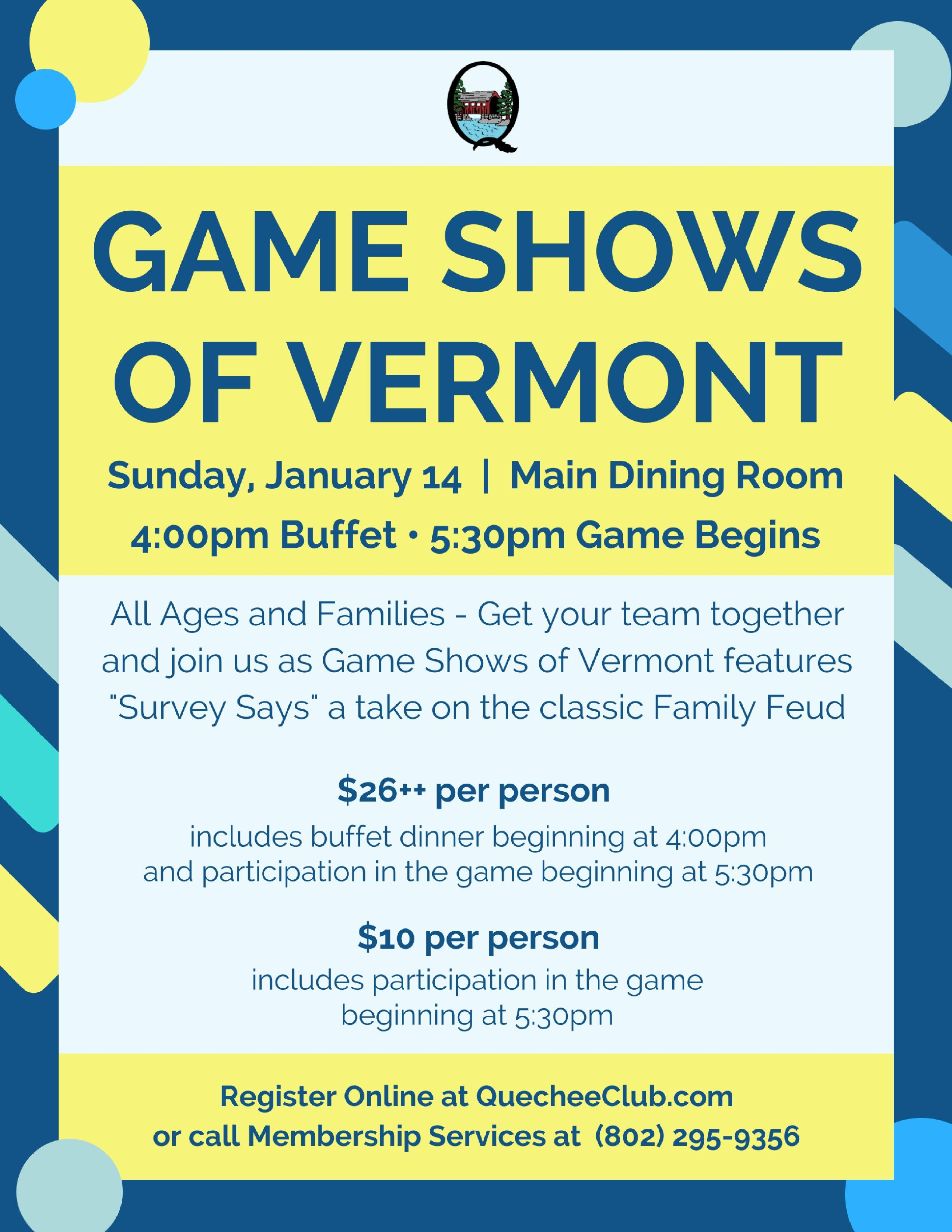 Game Shows of Vermont - Blogs - The Quechee Club